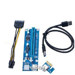 100pcs 6pin PCI-E Express USB3.0 1x to 16x Extender Riser Card Adapter Cable