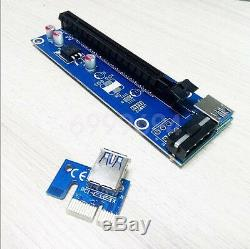 100x PCI-E Express USB3.0 1x to16x Extender Riser Card Adapter SATA Power Cable