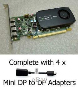 2GB Dell NVS 510 Quad Mini DisplayPort PCI-e Graphics Card 9NPC8 & 4 x Adapters