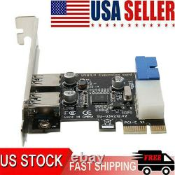 2Port PCI-E to USB 3.0 PCI Express Expansion Card External Adapter Hub 5Gbps
