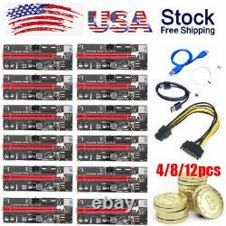 4/8/12PCS GPU Riser Card Adapter PCI-E 1x To 16x Extender USB3.0 Bitcoin Mining