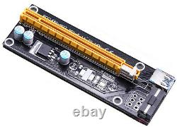6x PCI-E 1x zu 16x Expres Riser Karte USB 3.0 Mining Miner RIG GPU Power Adapter
