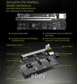 8x Ethereum PCI-E 1x to 16x Powered USB3.0 GPU Riser Adapter Card VER 009 Veddha