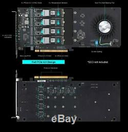 Gigabyte GC-4XM2G4 AORUS Gen4 AIC Adapter PCIe 4.0 M. 2 SSD Card Soft RAID