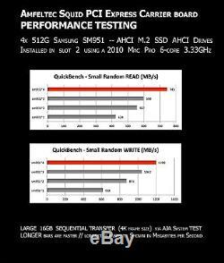 NEW 4 Slot PCIe M. 2 SSD RAID Amfeltec Quad Adapter Card Mac Pro 2008 2012 RAID