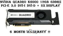 NVidia Quadro K6000 12GB GDDR5 PCIe 3.0 DVI-I DVI-D 2X Display Ports Video Card