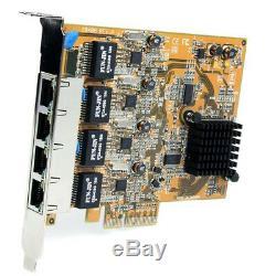 New Startech. Com 4 Port Pci Express Gigabit Ethernet Nic Network Adapter Card