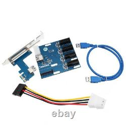 PCI-E 1 to 4 Splitter 1 x PCI Express Riser Card HUB Adapter ITX to External