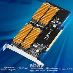 PCI-E x16 Adapter M. 2 NVMe 4Bay Solid State Drive Hard Disk Array Card for Win