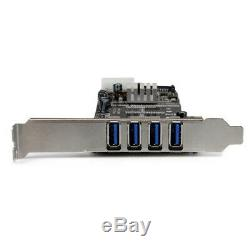 StarTech. Com 4 Port PCI Express (PCIe) SuperSpeed USB 3.0 Card Adapter with 2 Dedi