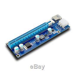100pcs Pci-e 6 Broches Express Usb3.0 1x À 16x Extender Riser Card Câble Adaptateur