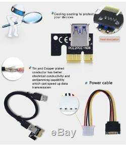 (24) Usb 3.0 Pci Pci-e 1x Express 16x Extender Riser Carte Adaptateur Câble D'alimentation