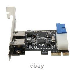 2port Pci-e À Usb 3.0 Carte D'extension Pci Express Adaptateur Externe Hub 5gbps