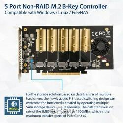 5 Emplacement 2 M. B-clé Du Contrôleur SATA Pcie 3.0 X16 Carte Adaptateur Avec Ventilateur De Refroidissement