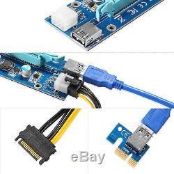 6-pack Pci-e Riser Card Mining 16x 1x Powered Riser Carte Adaptateur Usb 3.0