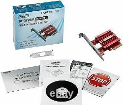 Asus Xg-c100c Pci-e Carte D'interface Réseau 10 Gigabit Lan Rj-45 Port Adaptateur Rouge
