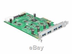Delock Carte Pci Express X4 4 X Adaptateur Usb Externe Pcie 2.0 X4 Usb 3.0 89325