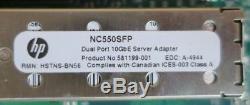 HP 586444-001 Nc550sfp Oce10102 Pcie Dual Port 10gbe Carte Adaptateur + 2 Sfp