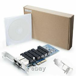 Nic Card Intel X550-t2 10go Ethernet Network Adapter 2x Cuivre Rj45 Port Pcie X4