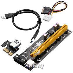 Paquet De 100 Pcie Riser Eth Carte Pci-e 1x Express 16x Extender Câble Adaptateur Usb