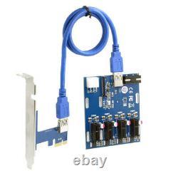 Pci-e 1 À 4 Pci Express 1x Riser Card À 4 Adaptateur Hub Pci-e Itx À Externe
