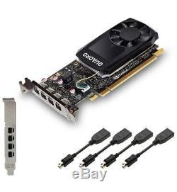 Pny Quadro P1000 4 Go Carte Graphique Pcie Low Profile & Full Et 4 Dp Adaptateurs Inc